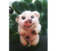 Свинка Брошь войлочная
